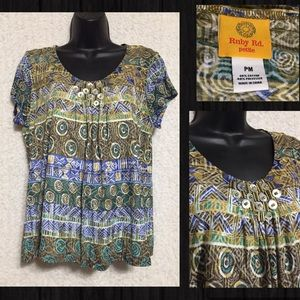 Ruby Rd. Embellished S/S Blouse Top Sz M Petite